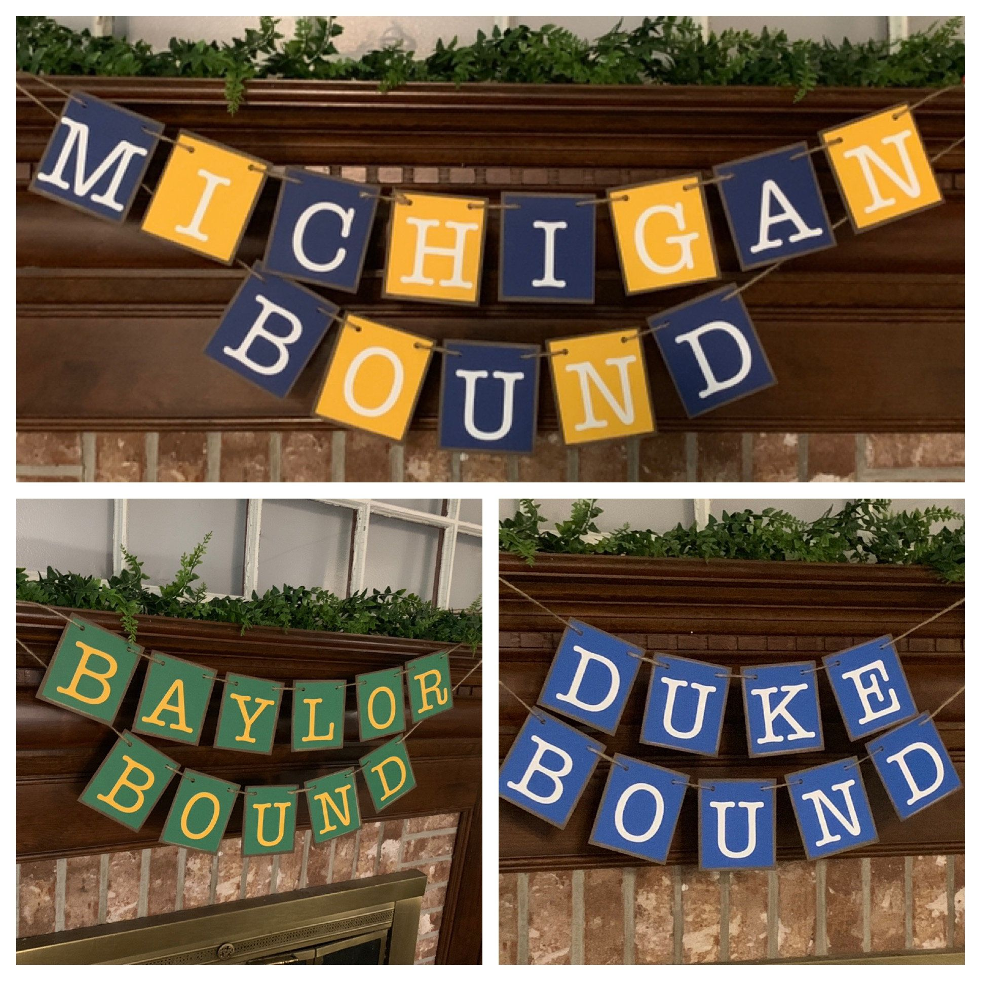 Graduation Custom College Bound Banners Signs Garlands Grad Party Decor Michigan Ohio State Baylor Duke Pick Your College and Colors