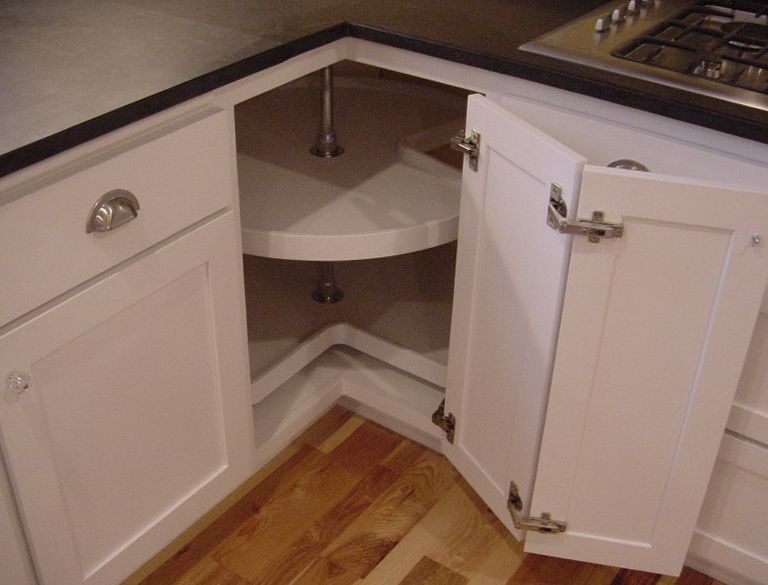 Picture Of White Wooden Corner Cabinet Lazy Susan Sized