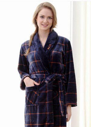 Autumn winter spring thick long flannel robe male coral fleece bathrobe men  plus size brand lovers sleepwear nightgown women d4e5a3baf