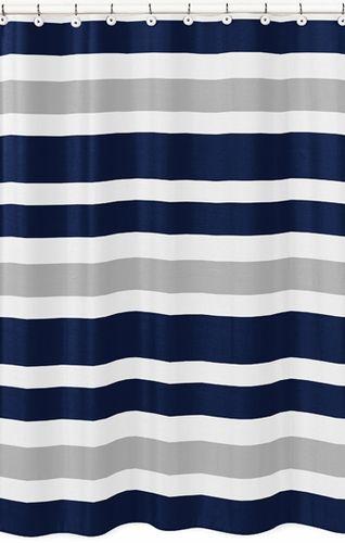 Navy Blue And Gray Stripe Kids Bathroom Fabric Bath Shower Curtain
