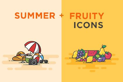 Colorful summer icons are here to boost our summer spirit even during the dogs day. These pretty summer and fruity icons will give your design