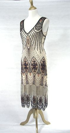 The Vamp Black White Beaded Style Gowns Art Deco Fler Fringe Dresses Vintage Daywear Hollywood Reproductions From Leluxe Clothing