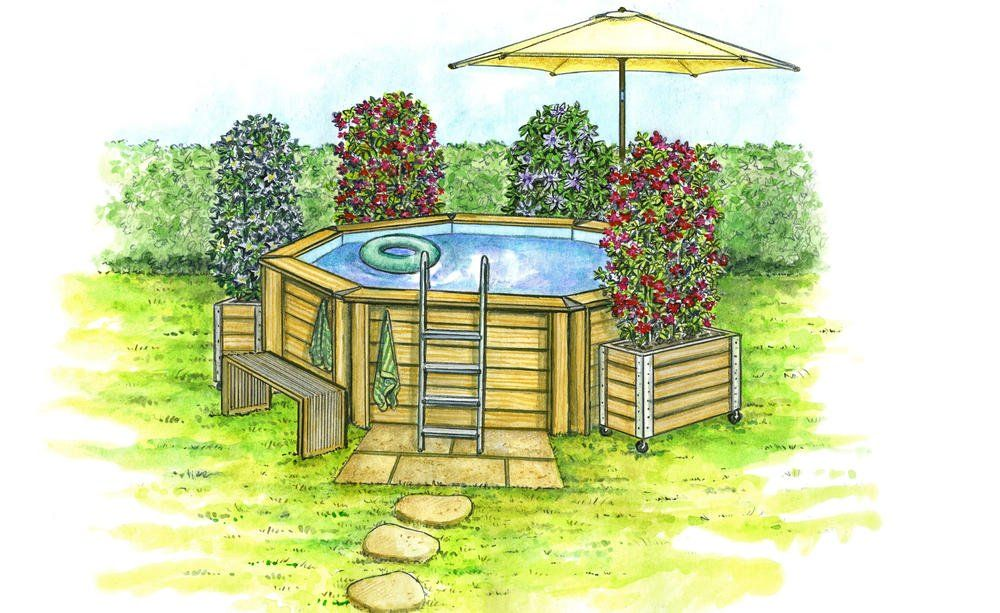 Mini Pools 3 Gestaltungsideen Fur Kleine Garten Gartengestaltung Mini Pool Whirlpool Garten Aufblasbar