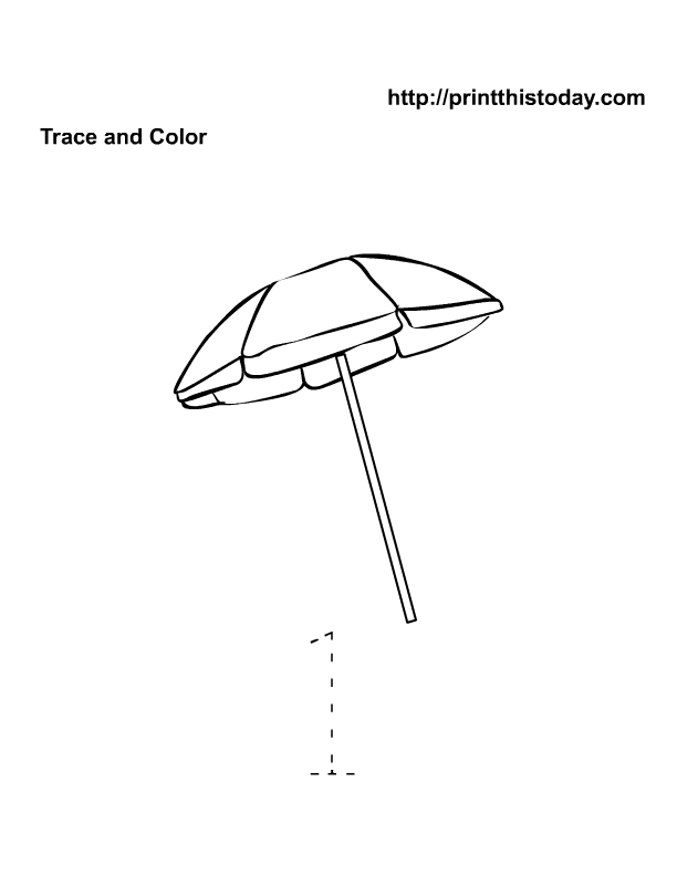 Free printable maths worksheet with parasol and number 1 | Free ...