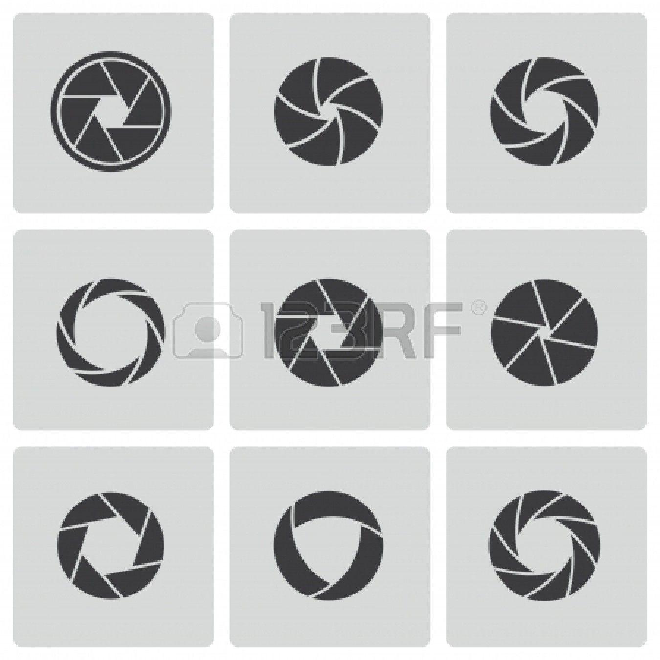 Iconos de cámara de obturación ajustada foto de archivo