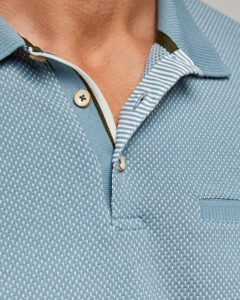 Tall textured cotton polo shirt - Light Blue   Tops and T-shirts ...