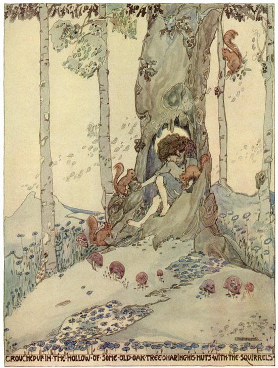 """""""crouched up in the hollow of some  old oak tree sharing nuts with the squirrels""""  - Jessie M. King illustration"""