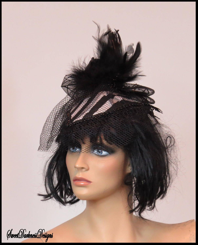 Gothic Fascinator Beetlejuice Fascinator BLACK and WHITE STRIPE Fascinator  Black Veil Lace Gothic Fascinator by SweetDarknessDesigns by  SweetDarknessDesigns ... 02084cca1ca