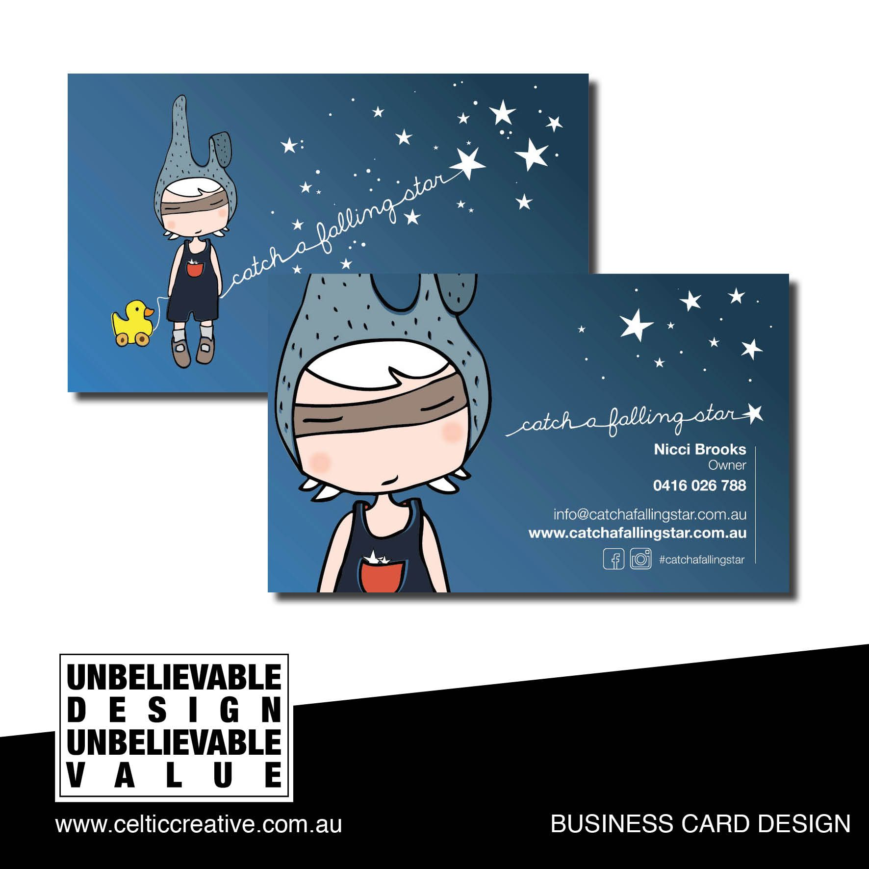 Catch a Falling Star Business Card Design by Celtic Creative ...