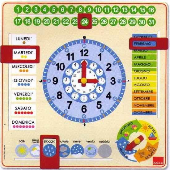 Calendario Legno Bambini.Orologio E Calendario In Legno Goula School D Ya Wooden