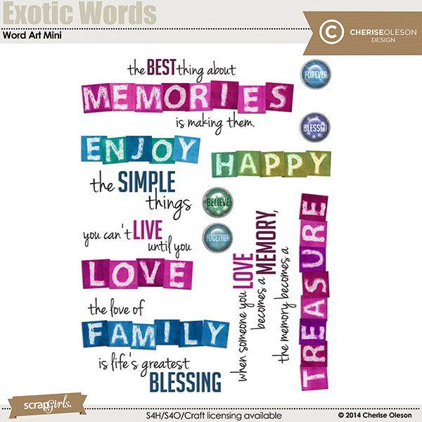 Exotic Words Word Art Mini digital scrapbooking kit, by Cherise Oleson: Scrap Girls