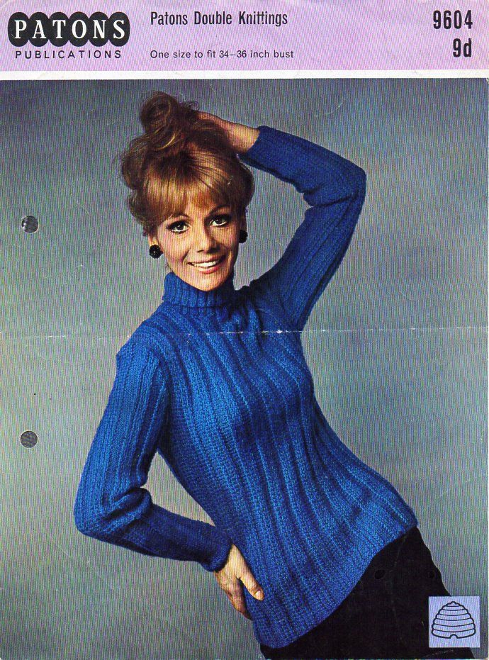 41d0d54265d0 womens sweater knitting pattern pdf DK ladies long line ribbed polo neck  jumper roll neck Vintage 60s 34-36 inch DK lt worsted 8ply download by ...