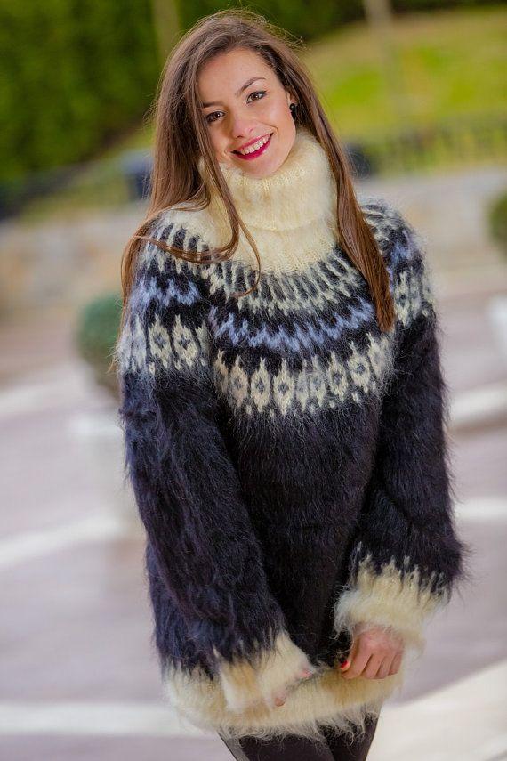 Isländische Pullover Hand stricken Mohair Pullover | Strick | Pinterest