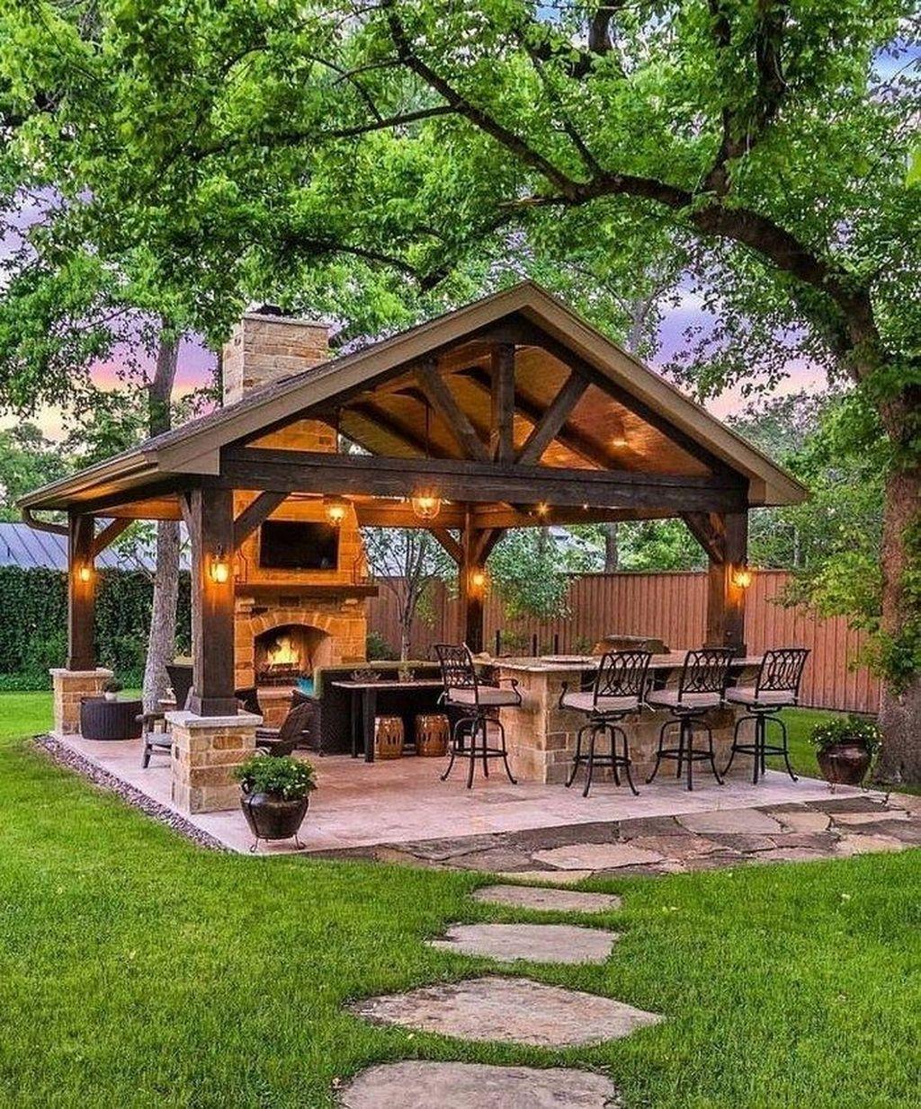 40 Best Patio Design Ideas To Really Enjoy Your Outdoor In 2021 Rustic Outdoor Fireplaces Outdoor Fireplace Designs Backyard Pavilion