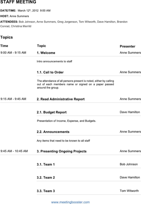 Staff Meeting Agenda Template  TemplatesForms