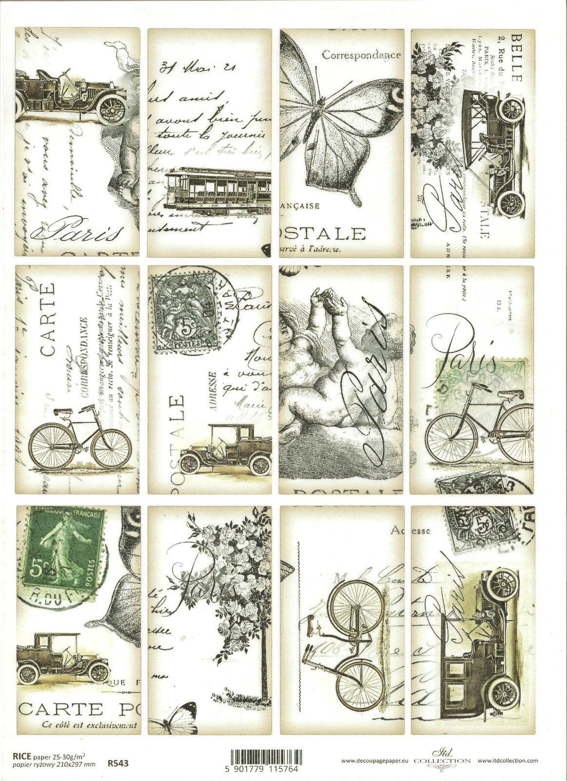 Rice Paper for Decoupage Scrapbooking Vintage Topper Postcard Letter  ITD R543