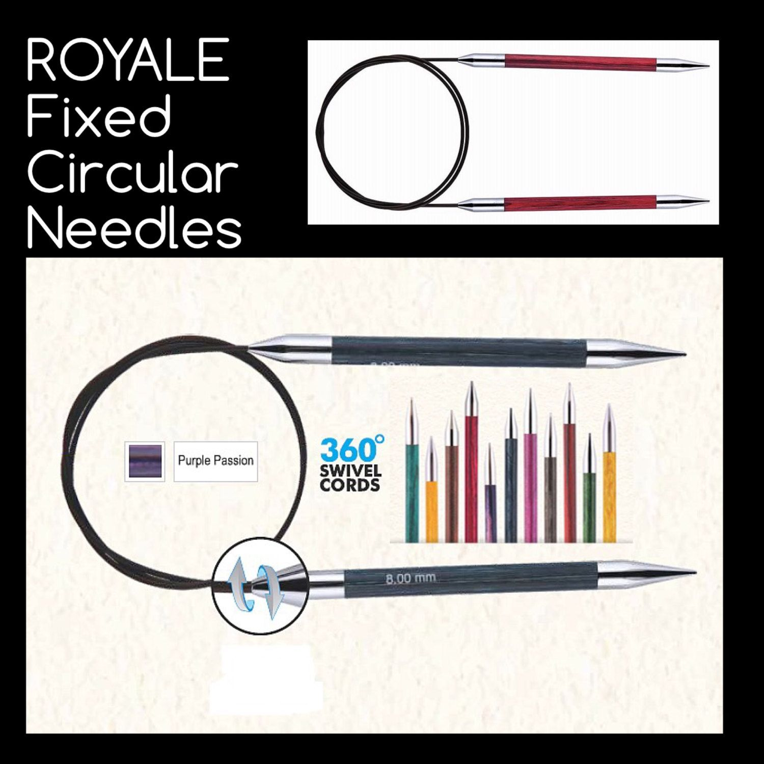 New Royale Fixed Circular Needles With 360 Deg Swivel Cables