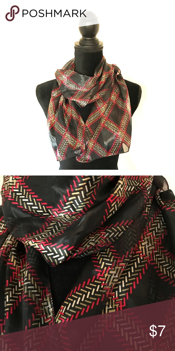 Black/red/cream silk scarf Black, red and cream silk scarf. Accessories Scarves & Wraps