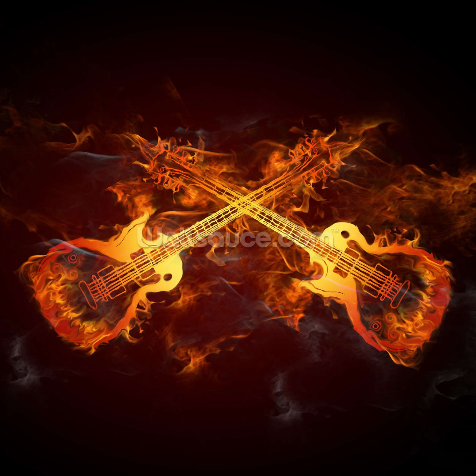 Guitars on Fire Mural wall art, Rock, roll dance, Wallpaper