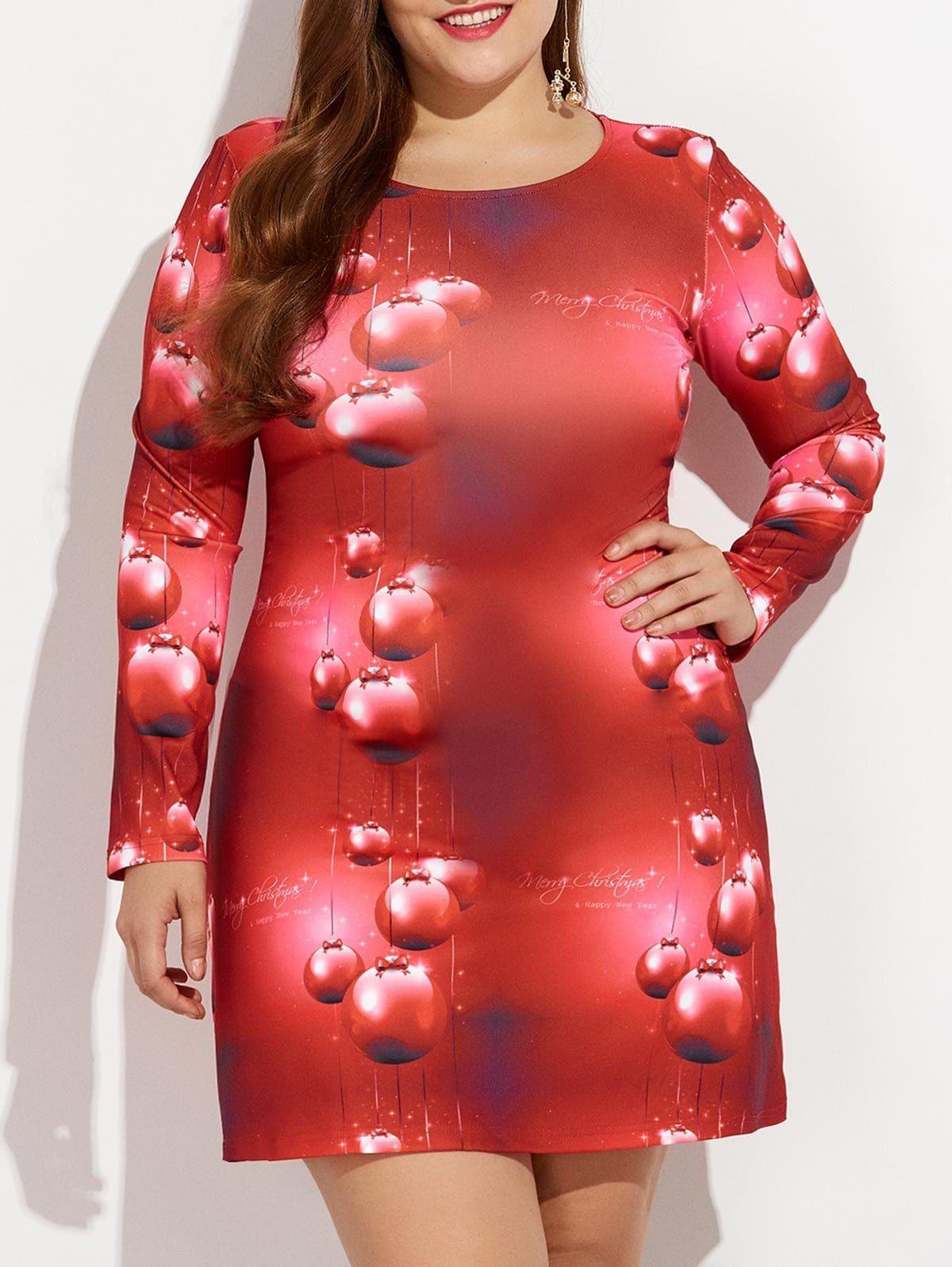 Christmas plus size d print long sleeve dress fashion u clothing