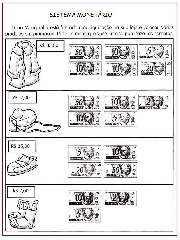 Atividade Com Sistema Monetario Sala De Aula Profª Rerida