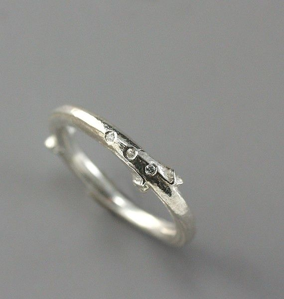 Sterling Lilac Twig Ring with Tiny Diamonds by Sarah Hood
