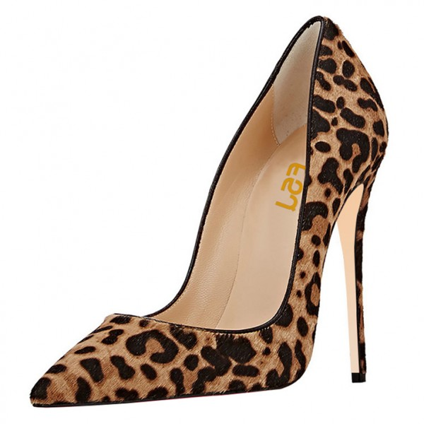 Leopard Print Heels Suede Pumps Sexy Stiletto Heels
