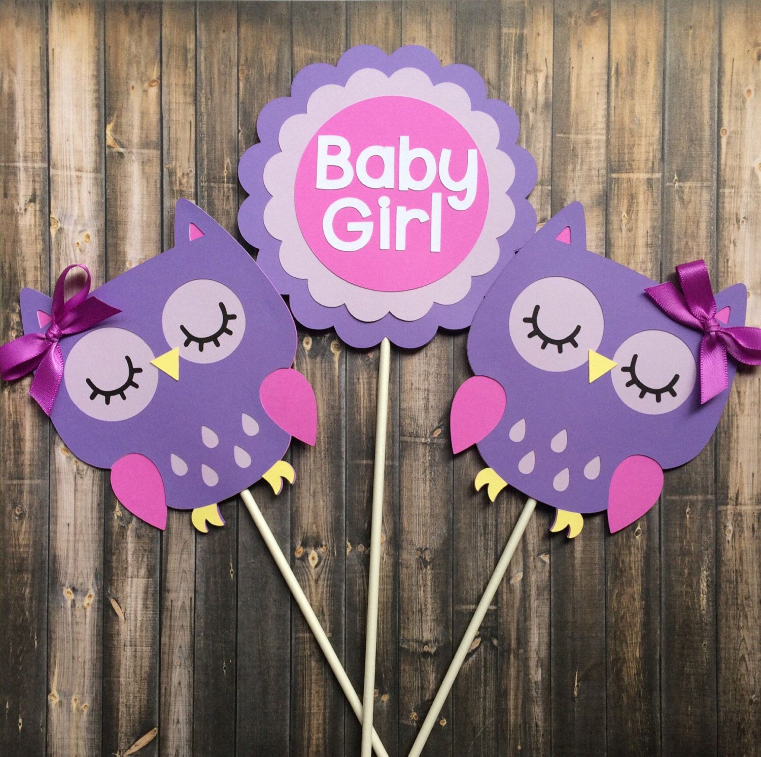 Owl Centerpiece, Owl Themed Centerpiece, Baby Girl, Purple Owl Decorations, Baby  Shower Decoration, Set Of 3 Centerpiece