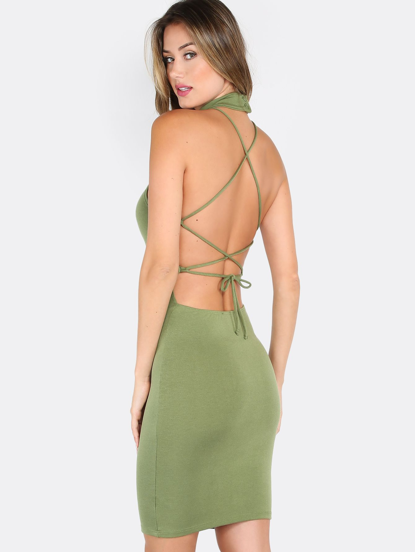 Strappy Choker Bodycon Dress Olive Makemechic Com Bodycon Dress Dresses Backless Dress [ 1785 x 1340 Pixel ]