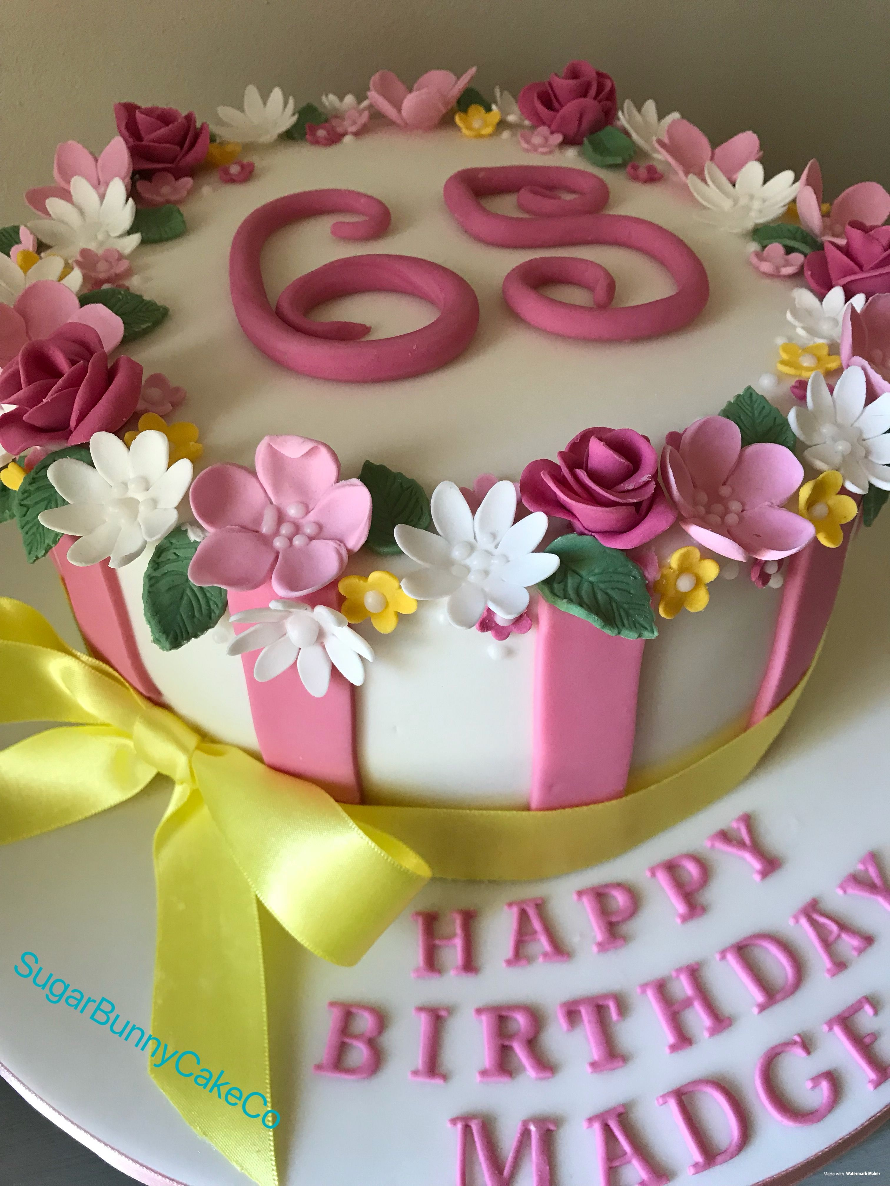 Wondrous 65Th Birthday Flowers Cake With Images 65 Birthday Cake Fancy Funny Birthday Cards Online Inifodamsfinfo