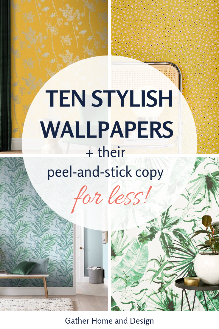10 Stylish Wallpaper Accents And Their Affordable Peel And Stick Copy Accent Walls In Living Room Yellow Accent Walls Wallpaper Accent Wall