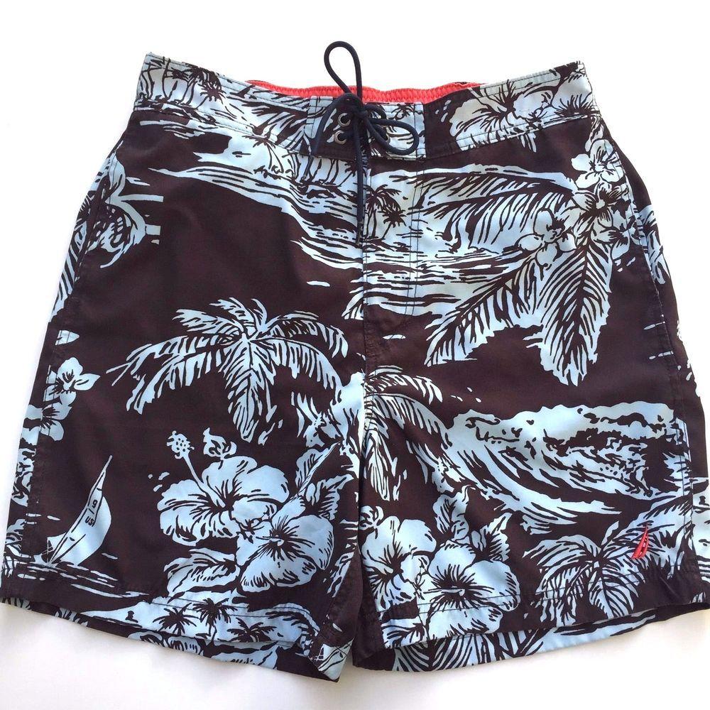 622ed79f93 Nautica Men's Swim Trunks Board Shorts Bathing Suit M Brown Aqua #Nautica # BoardShorts