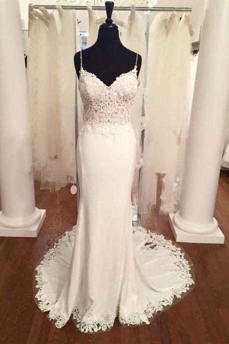 Spaghetti Strap V-neck Vintage Lace Mermaid Beach Wedding Dresses ...