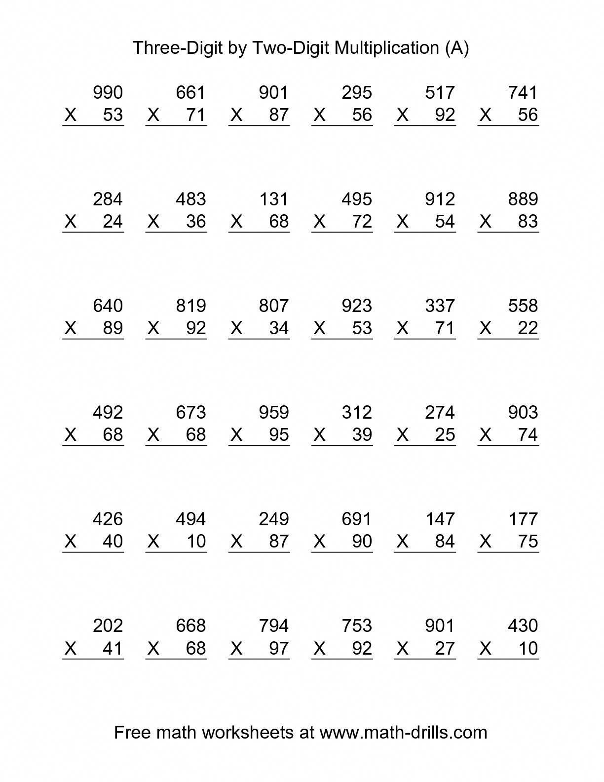 The Multiplying Three Digit By Two Digit 36 Per Page A Math Worksheet From The Mu Math Multiplication Worksheets Math Worksheets Multiplication Worksheets