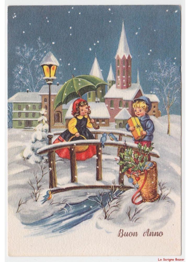 Scambio Auguri Di Natale.Cartolina Natalizia Vintage Con Bambini Neve Ponte Scambio Auguri E Regali Arte Natalizia Scene Di Natale Immagini Di Natale