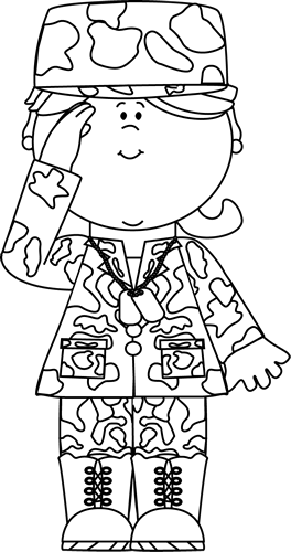 Black & White Military Girl Saluting Clip Art - Black & White ...