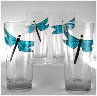 Materiales vasos de cristal transparente pintura - Pintura para metales ...