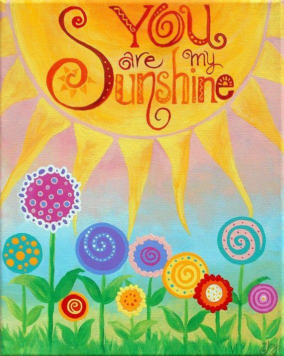 CUSTOM Baby Girl Nursery Art, You Are My Sunshine floral art, 11x14 inch acrylic painting personalized custom art