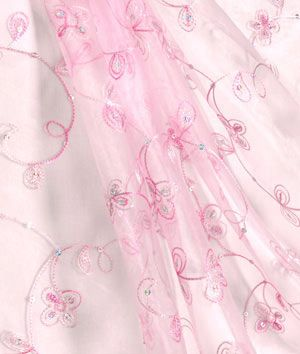 Lightweight Sheer Embroidered Organza Fabric Material Swirl White 150cm Bridal