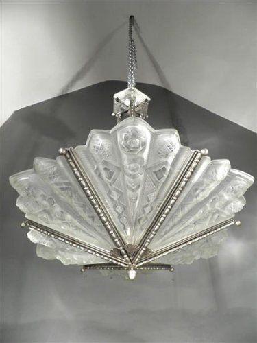 1920 30 noverdy lustre plaques en fer forg et verre press moul art d co art deco. Black Bedroom Furniture Sets. Home Design Ideas