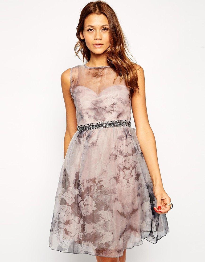 b6210b7cf13b Little Mistress Printed Organza Prom Dress with Embellished Waist - Multi -  Domodi.cz