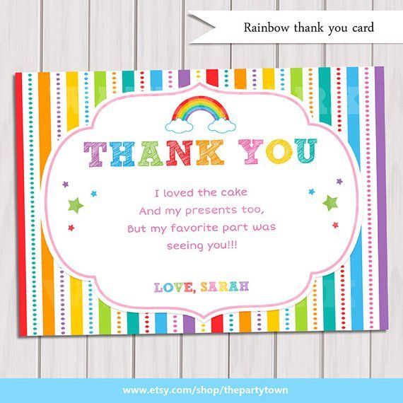 Rainbow Thank You Card Birthday Note Printable DIY Party Invitation Per