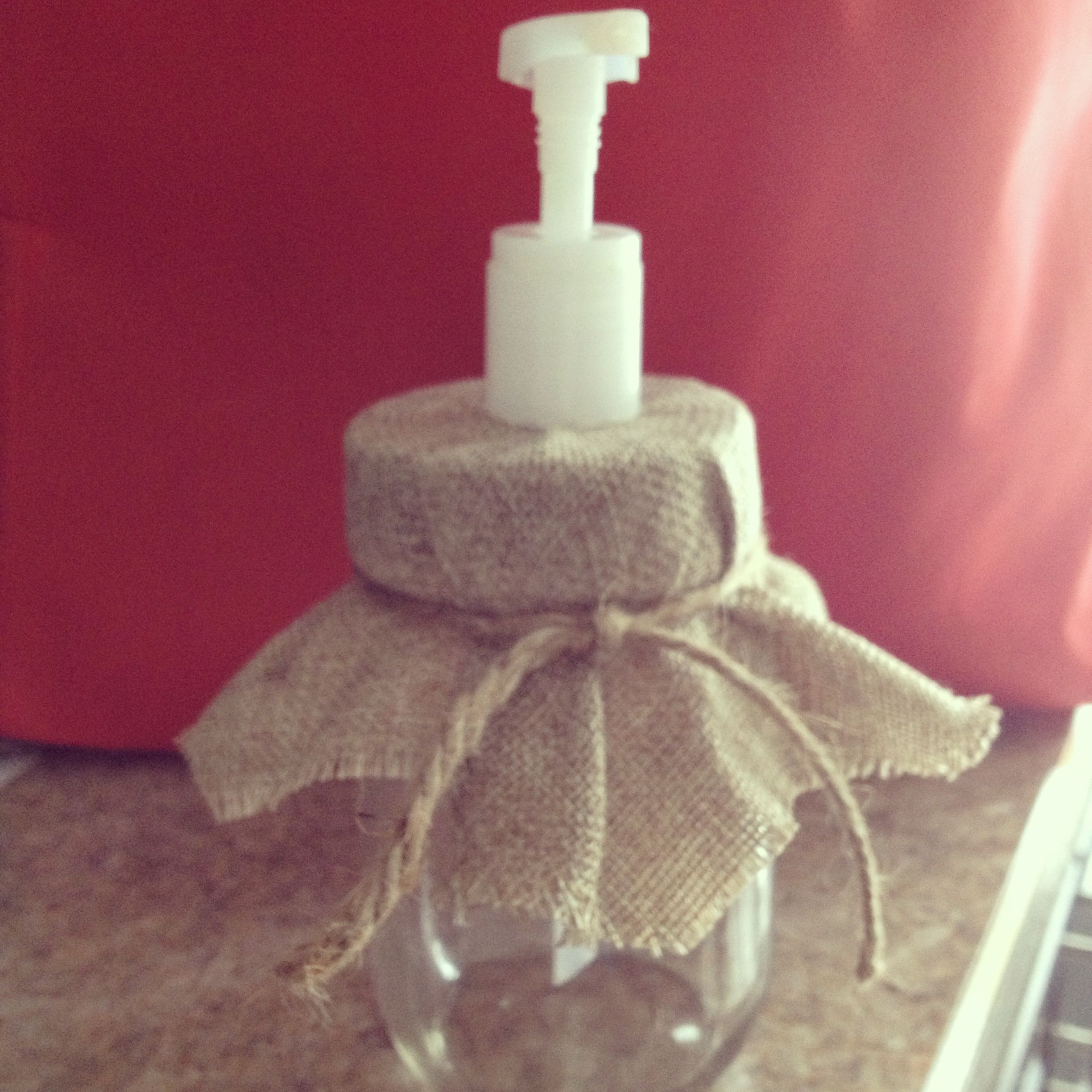 DIY soap dispensers from mason jars :) all you need is a nail to ...