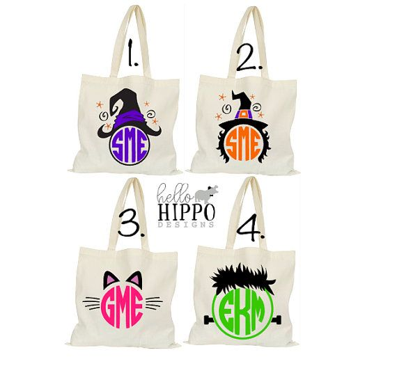 monogrammed halloween tote bagpersonalized trick or treat bagcandy bag witch