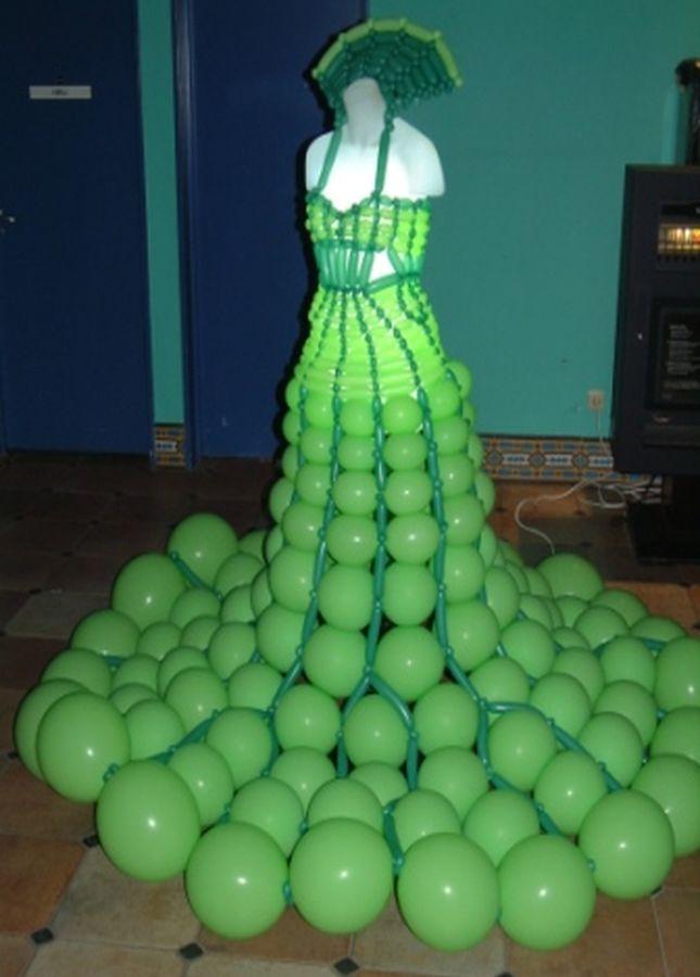green balloon dress