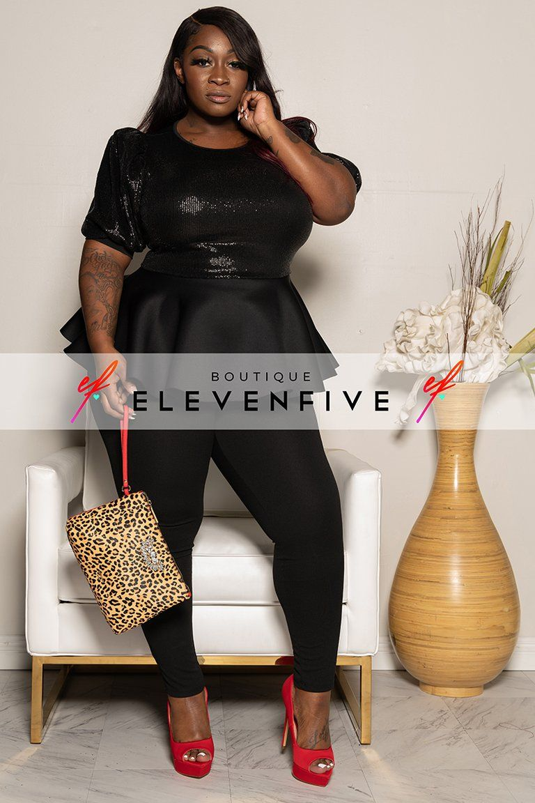 "Plus Size ""Brooklyn"" Sequin Peplum Top Black in 2020"