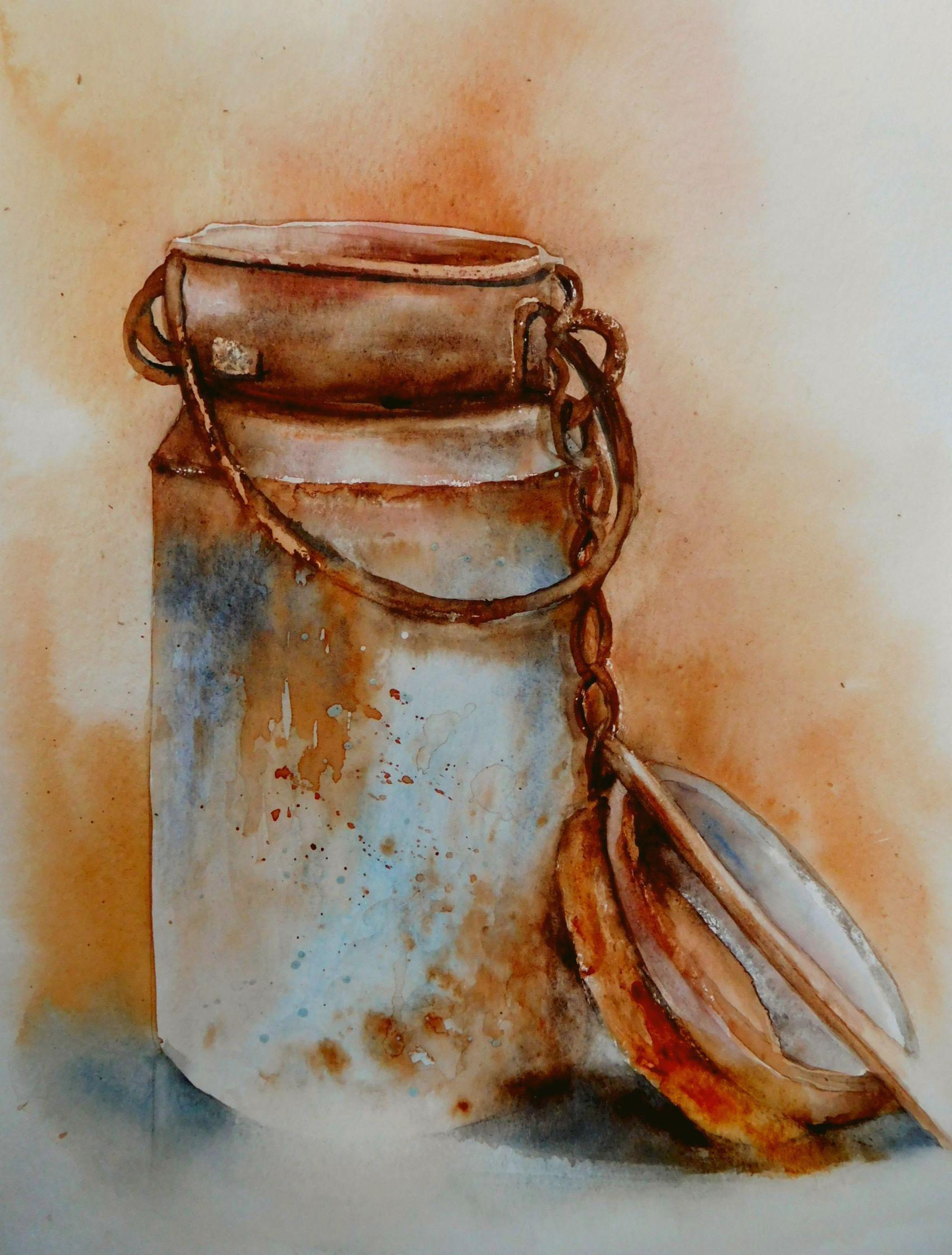 Le Pot A Lait Aquarelle De Anne Larose Watercolor Watercolor