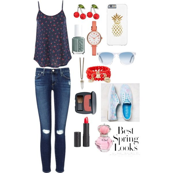 Fruit fashion by troixmac on Polyvore featuring polyvore, fashion, style, maurices, AG Adriano Goldschmied, Keds, Givenchy, MARC BY MARC JACOBS, The Limited, Kate Marie, Oliver Peoples, MAKE UP STORE, Bare Escentuals, Essie and H&M