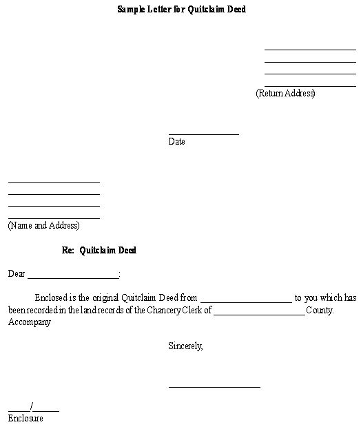 Sample Letter For Quitclaim Deed Template  Business Legal Forms