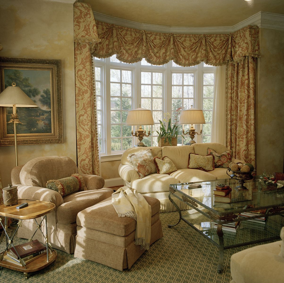 Ann kenkel 39 s portfolio window treatments drapery with - Living room bay window treatments ...